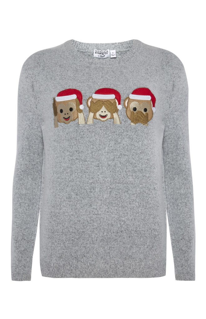 Primark-Penneys-Christmas-jumper-sweater-emojis-monkeys-three-holiday-season-grey-santa-blog-post-gingham and sparkle-ireland-dubai