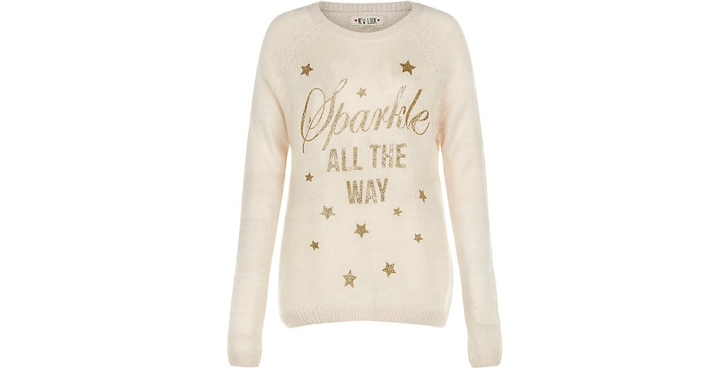 New Look-Christmas jumper-sparkle-all the way-cute-cosy-knit-stars-cream-gold-novelty-seasonal-shopping-online-gingham and sparkle-love it-blog post-blogger-dubai-ireland