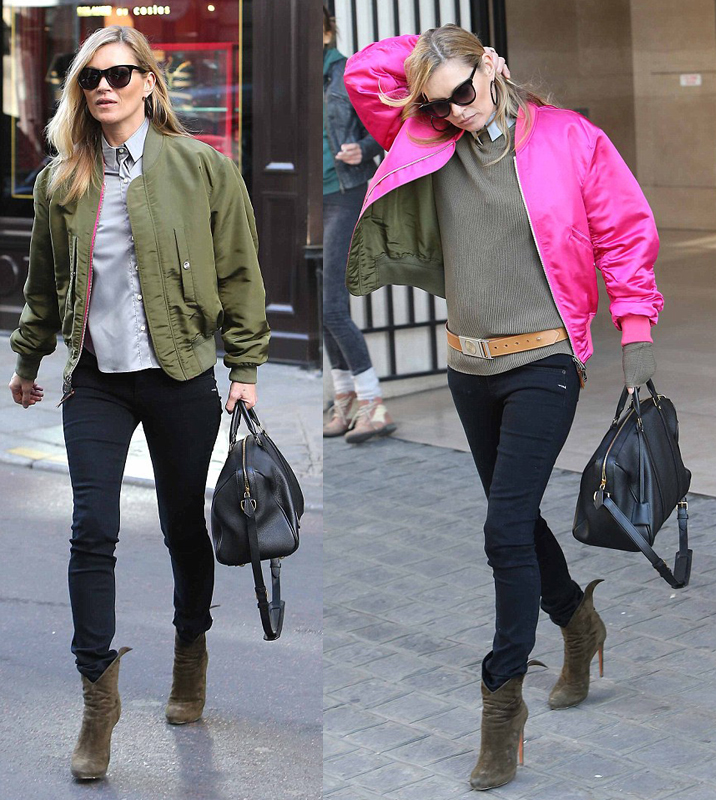 Kate Moss-bomber-jacket-green-pink-style-fashion-stylish-on trend-supermodel-love-blogger-gingham and sparkle-blog post-return of the bomber jacket-dubai-ireland-autumn-winter