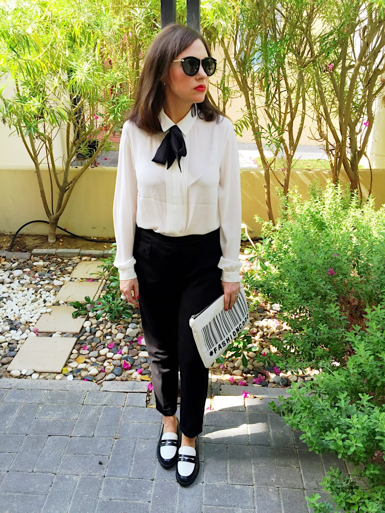 bow blouse-pussy-bow-shirt-black-white-ootd-blog post-androgynous-look-bow-tie-monochrome-flats-peg-trousers-smart-tailored-chic-classic-gingham and sparkle-irish blogger-dubai blogger-dubai-ireland-accessories-primark-hm-zara-koton