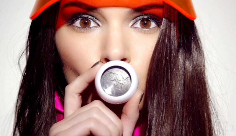 kendal jenner-estee lauder-courreges-paris-makeup-beauty-campaign-collection-amazing-sold out-instant-middle east-dubai-release-french-designer-design house-space age-futuristic