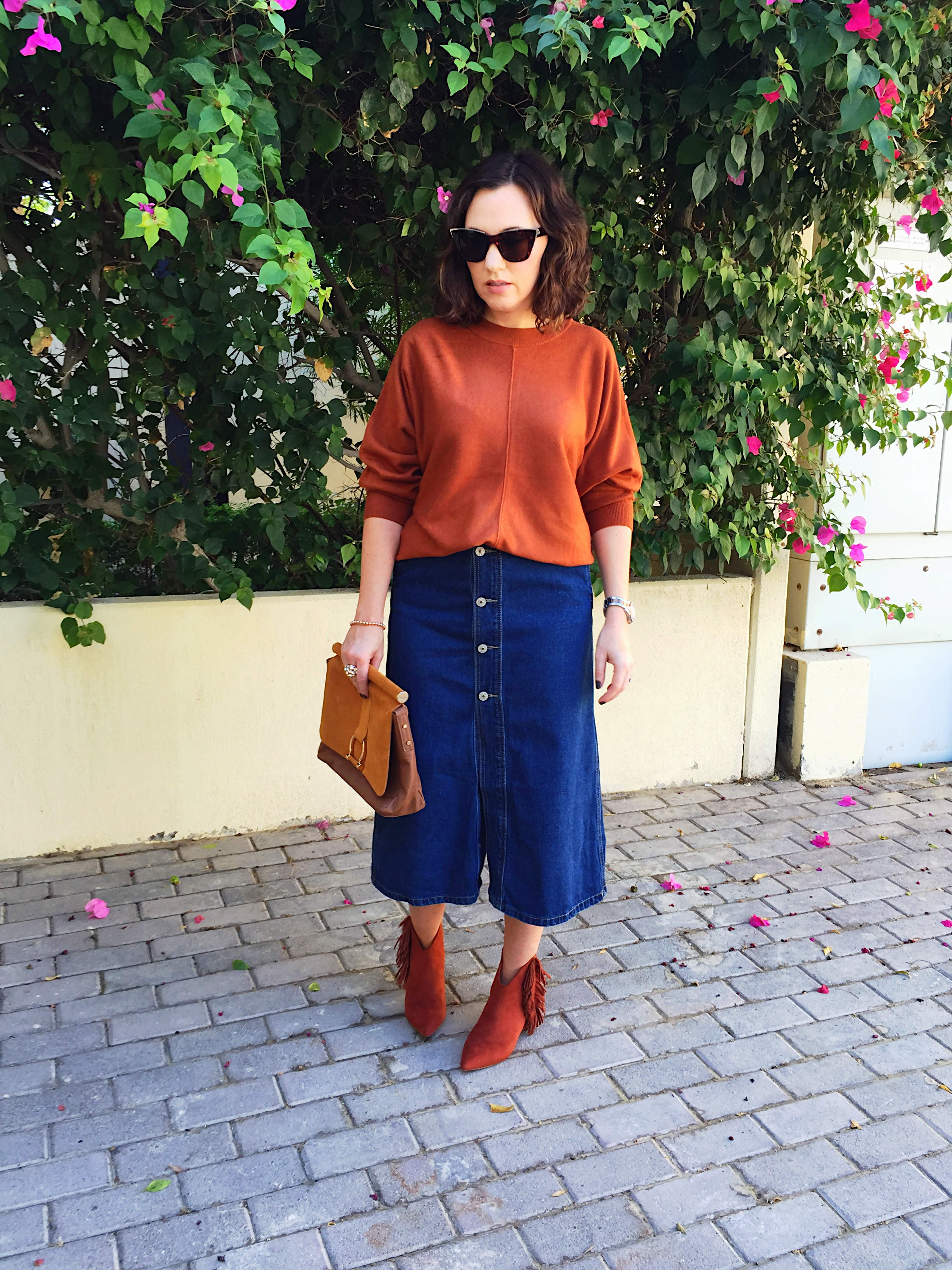 denim-midi-skirt-post-blog-gingham-and-sparkle-blogger-fashion-style-outfit-look-ootd-fringe-boots-burnt-orange-copper-button-detail-asos-penneys-primark-heels-h&m-dubai-ireland-irish-shopping-boohoo
