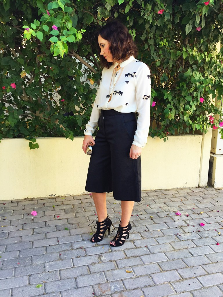 culottes-asos-black-white-monochrome-blog-post-blogger-gingham-and-sparkle-trend-fashion-style-dubai-ireland-irish-shoe-boots-fringe-stripes-bell-sleeves-zara-h&m-adidas-trainers-runners-3-styles-grey-jumper-elephant-print-blouse-shoe-boots-jacket-quay-australia-sunglasses-office-look-nighttime-bar-going-out