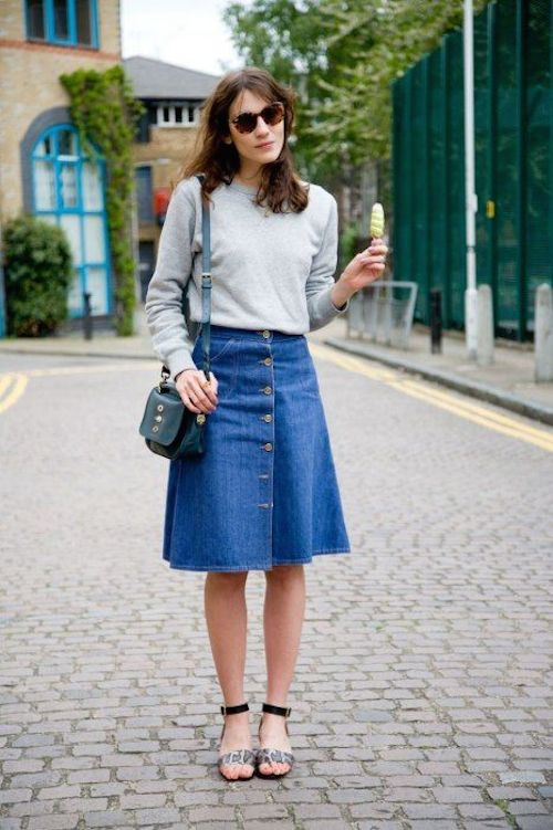 Gingham and sparkle - The Denim Midi-Skirt Look