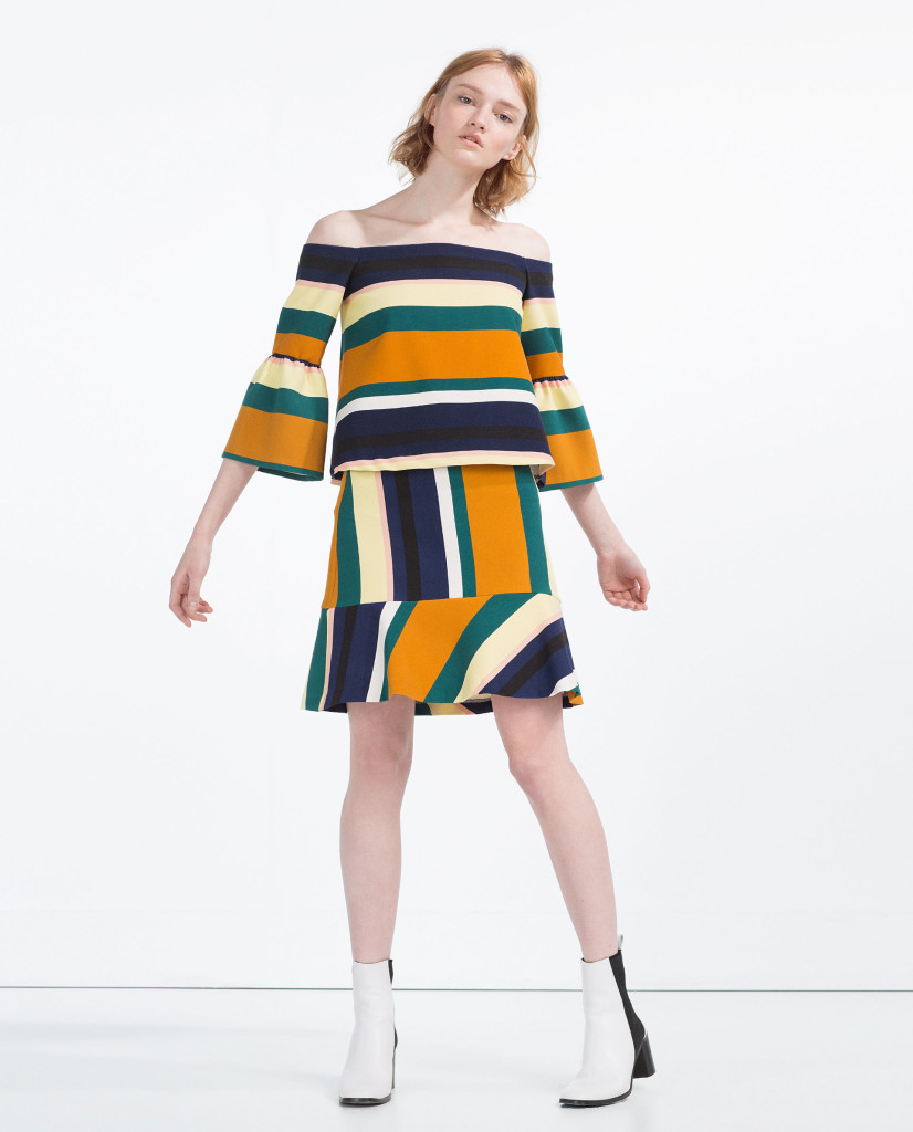 zara-coordinated-set-coord-blog-outfit-post-gingham-and-sparkle-strips-horizontal-navy-black-mustard-green-white-lemon-ss2016-spring-summer-new-stock-fashion-style-red-lips-yellow-clutch-asos-black-patent-pointy-toe-boots-jewels-quay-australia-kitti-sunglasses-sunnies-skirt-top-off-the-shoulder-dubai-ireland-two-piece-koton-on-clutch-bag