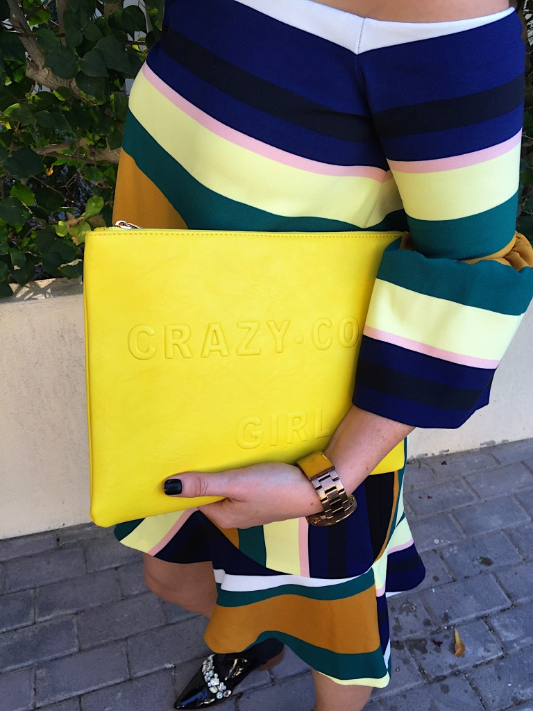 zara-coordinated-set-coord-blog-outfit-post-gingham-and-sparkle-strips-horizontal-navy-black-mustard-green-white-lemon-ss2016-spring-summer-new-stock-fashion-style-red-lips-yellow-clutch-asos-black-patent-pointy-toe-boots-jewels-quay-australia-kitti-sunglasses-sunnies-skirt-top-off-the-shoulder-dubai-ireland-two-piece