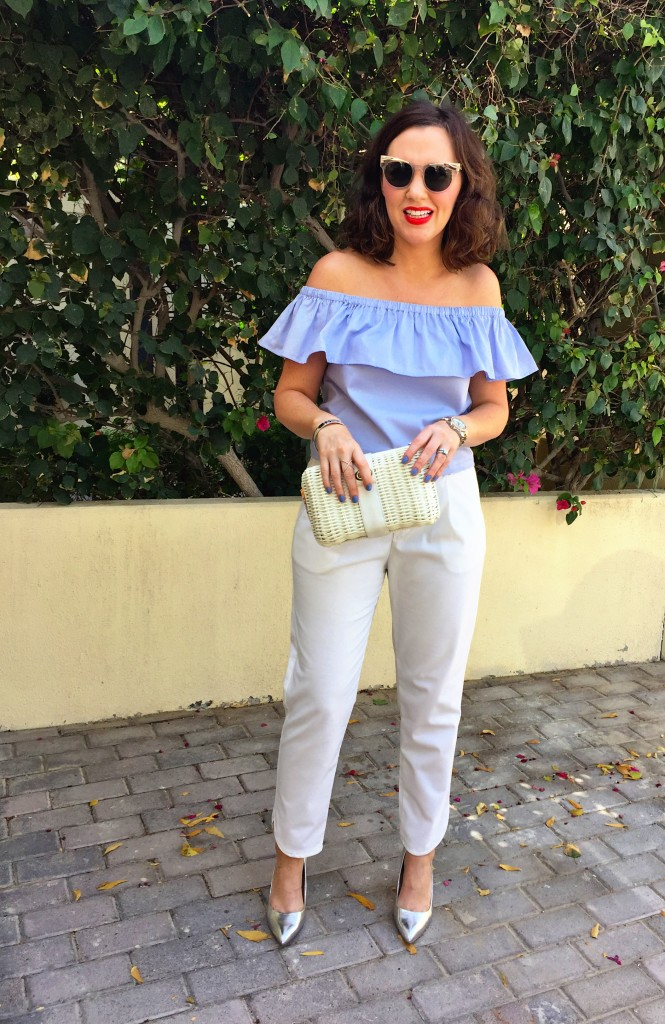off-the-shoulder-top-blot-post-tiny-toots-style-fashion-summer-gingham-and-sparkle-dubai-ireland-blogger-spring-2016-light-blue-flowers-dark-tan-white-trousers-silver-metallics-basket-bags-accessories-custom-order-ripe-market