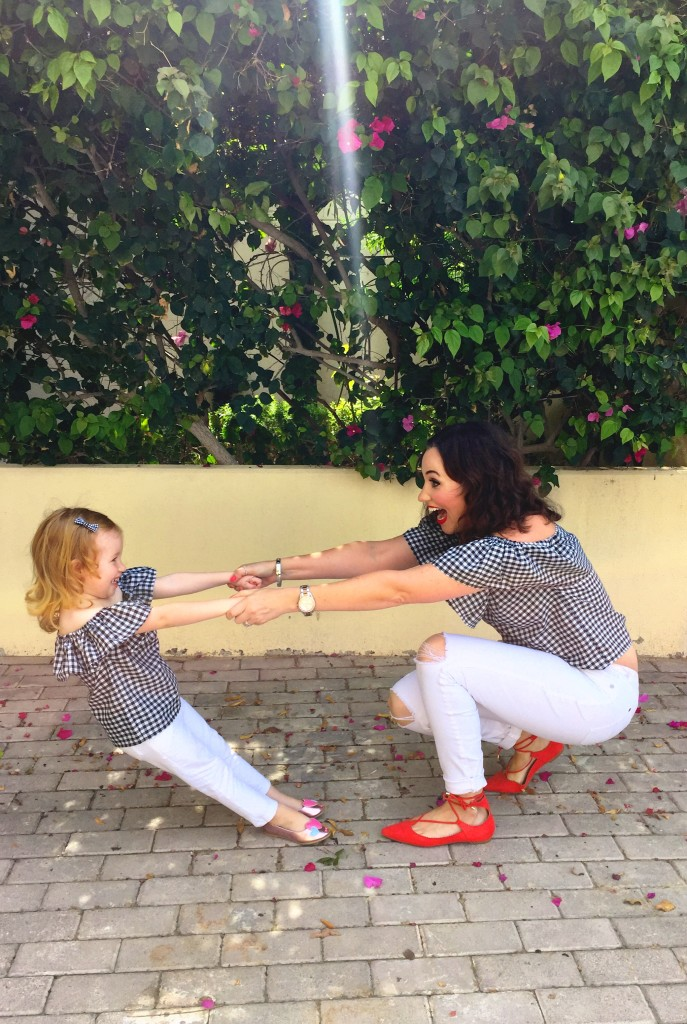 gingham-off-the-shoulder-top-tiny-toots-dubai-handmade-local-blog-post-gingham-and-sparkle-blogger-irish-fashion-style-spring-summer-2016-trend-black-white-my-girl-molly-mother-daughter-photo-shoot-red-shoes-jeans-cute