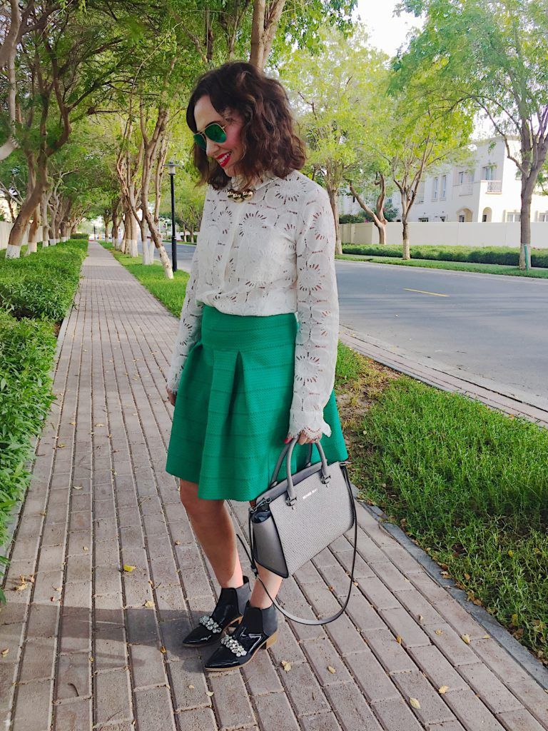 h&m-hm-lace-shirt-white-green-skater-skirt-michael-kors-grey-selma-handbag-asos-black-patent-flat-boots-accessory-gold-statement-necklace-raybans-polaroid-outfit-blog-post-gingham-and-sparkle-irish-dubai-blogger-fashion-style-casual-smart-stylish-stylist-get-the-look-shopping