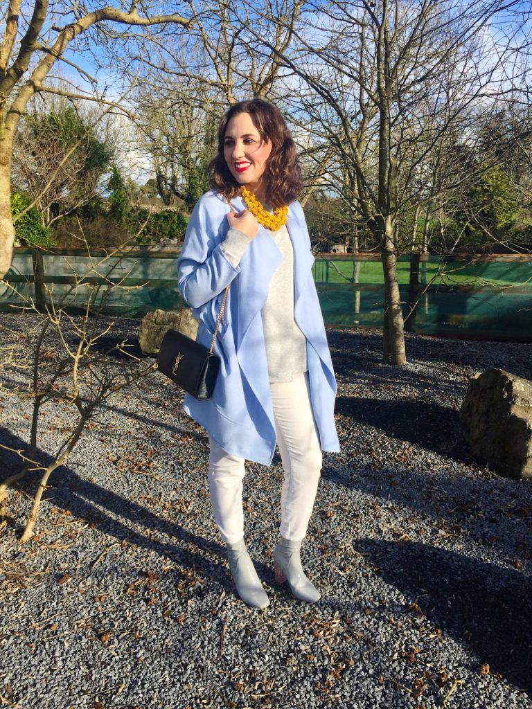 outfit-blog-post-white-jeans-public-desire-chloe-dupe-boots-grey-pink-river-island-spring-look-ysl-monogrammed-caviar-leather-bag-satchel-white-jeans-sportsgirl-h&m-ireland-weather-winter-cold-fashion-style-stylist-gingham-and-sparkle-blogger-dubai-yellow-bright-colour-pastel
