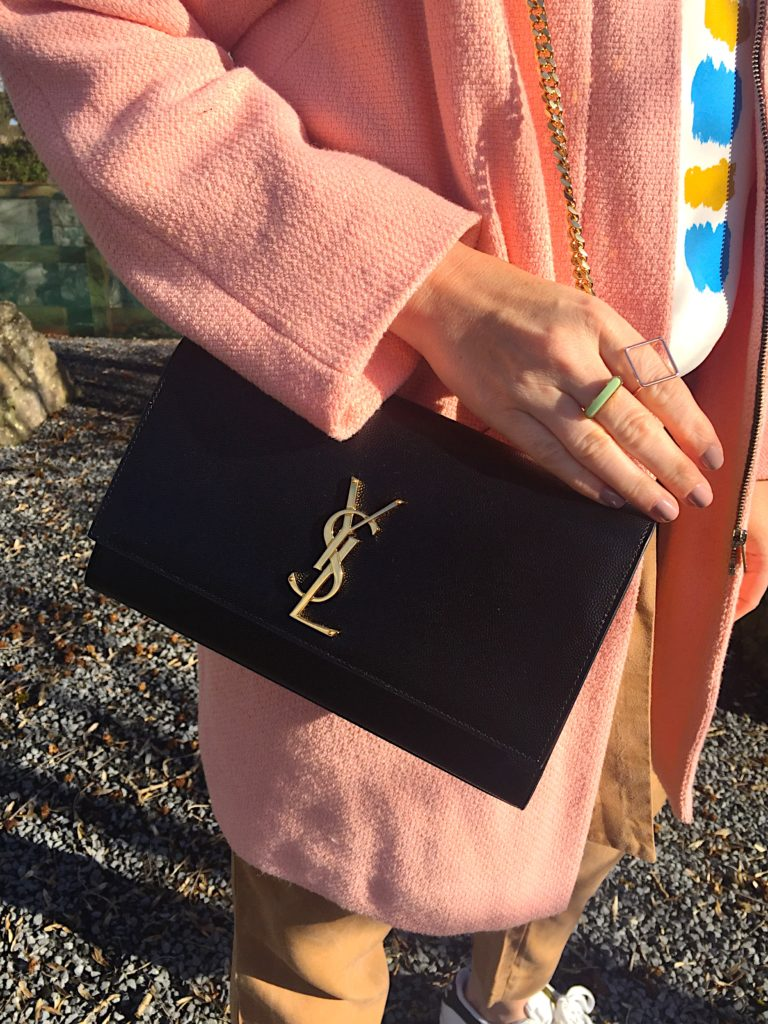 coat-jacket-zara-dusty-pink-colour-hm-print-top-peg-trousers-dark-tan-casual-look-outfit-post-blog-gingham-and-sparkle-love-fashion-style-stylist-irish-dubai-ysl-designer-bag-satchel-adidas-superstar-white-black-stripe-sunglasses-quay-australia-relaxed-look-recycle