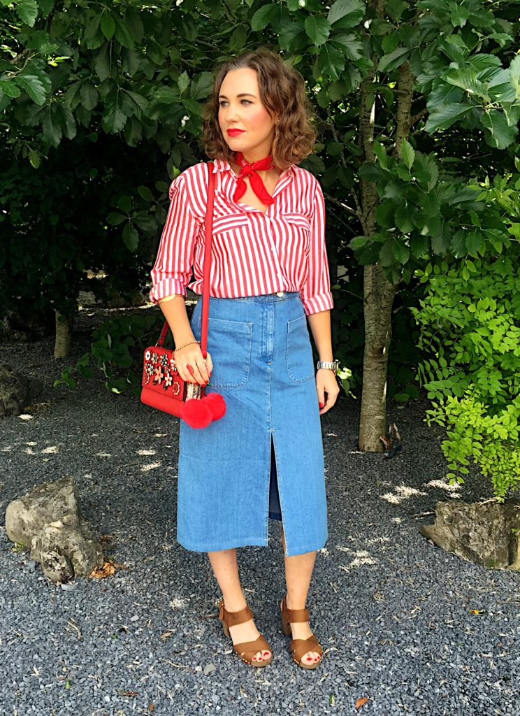 summer-style-70s-seventies-zara-asos-parfois-red-white-new-look-style-fashion-stylist-blogger-gingham-and-sparkle-irish-dubai-ireland-fossil-cherry-pompoms-trend-outfit-look-post-denim-skirt-midi-lenght-shirt