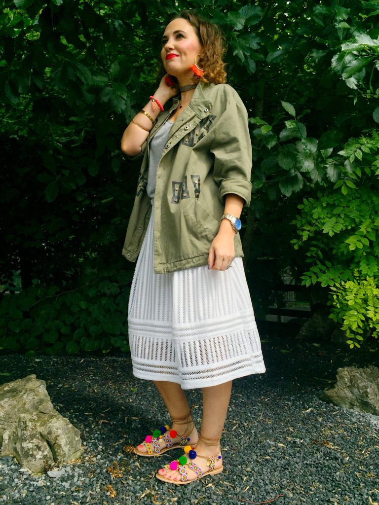 zara-military-style-jacket-summer-autumn-winter-spring-fashion-khaki-green-wild-at-heart-trend-blogger-gingham-and-sparkle-ireland-irish-dubai-love-high-street-shopping-outfit-post-ootd-lotd-hm-white-skirt-river-island-pom-pom-sandals-festival-chic-new-look-grey-tshirt-casual-look-raybans-bird-all-year-round-perfect-parka-oversized