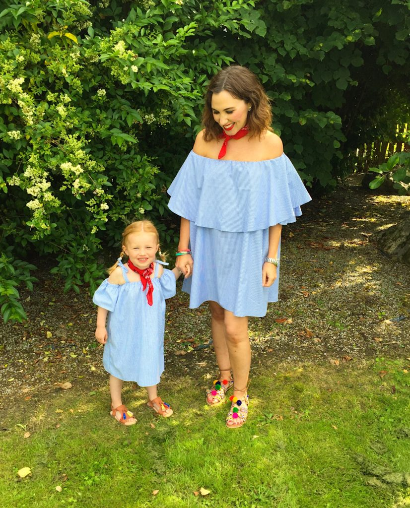 tiny-toots-off-the-shoulder-dress-poplin-material-blue-red-matching-mum-daughter-mini-me-style-fashion-blogger-gingham-and-sparkle-love-summer-trend-cold-shoulder-pom-pom-tassle-sandals-river-island-zara-bandana-cute-girls-dubai-worldwide-online-shopping-ripe-market-designer