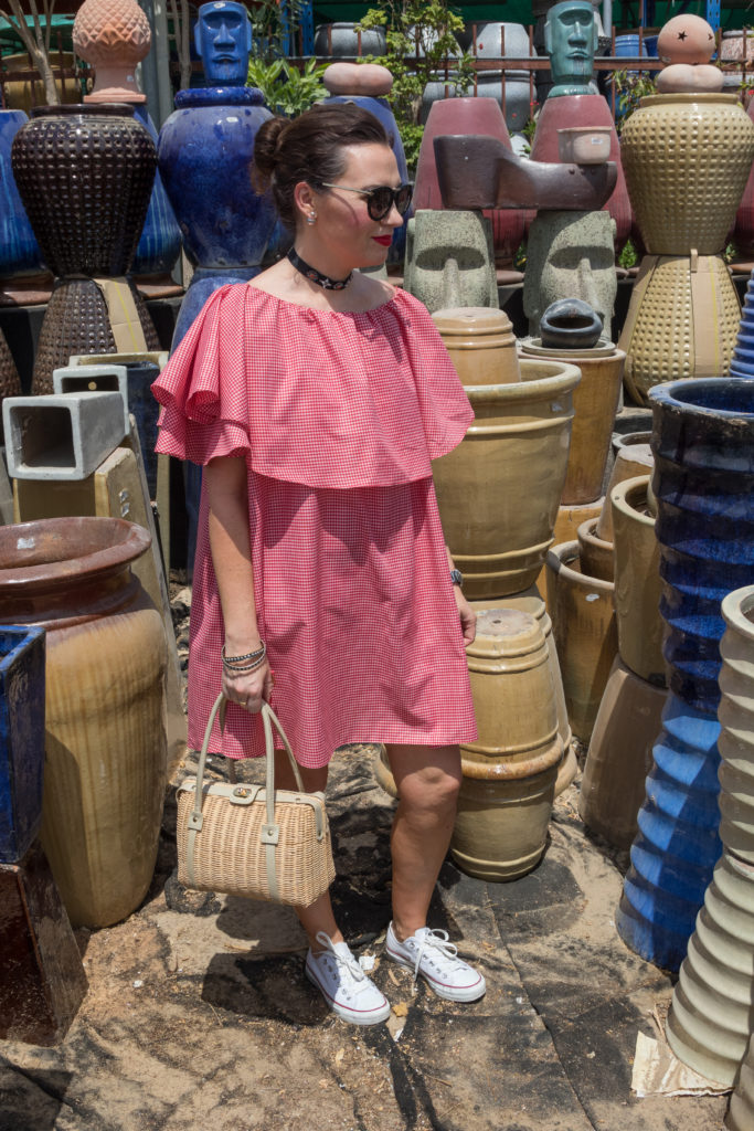 red-gingham-tiny-toots-dubai-uae-off-the-shoulder-dress-style-fashion-blogger-streetstyle-gingham-and-sparkle-choker-trend-summer-look-ootd-im-back-fashionista-stylist-jump-irish-ireland-middle-east-plant-souk-white-converse