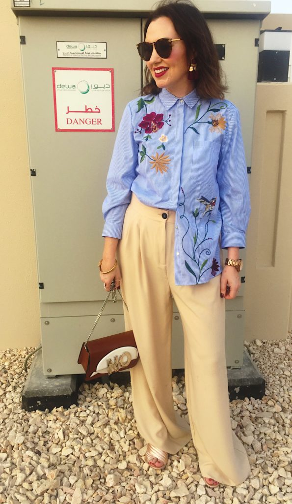 zara-floral-shirt-autumn-winter-style-fashion-blue-popin-stylish-wide-legged-trousers-mango-bag-no-accessories-office-rosegold-shoes-blogger-gingham-and-sparkle-irish-dubai-fashionblogger-smile-camera-applique-design-new-season