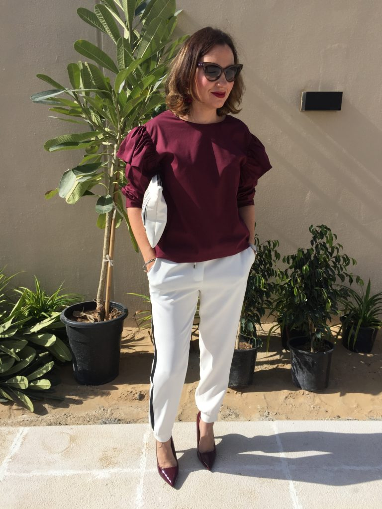 zara-sale-online-shopping-burgandy-colour-back-detail-sports-luxe-white-black-stripe-casual-dressy-sleeves-ruffles-january-fashion-style-blogger-gingham-and-sparkle-dubaiblogger-irishblogger-ootd-lotd-outfit